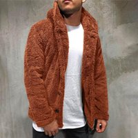 Men's Jackets Autumn&Winter Outwear Solid Color Long Sleeved Hooded Single Breasted Double-faced Fleece Male D920#