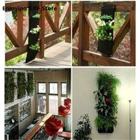 Planters & Pots Vertical Wall-Mounted Planting Bag Black Hanging Wall Garden Plant Grow Bags Home Non-woven Growing Supplies