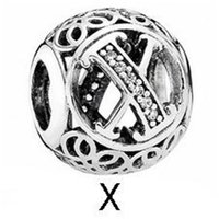 Pandach a إلى z الأبجدية 925 فضة الخرزة إلكتروني سحر صالح الأصلي 3 ملليمتر أساور قلادة diy مجوهرات صنع C738 29 W2