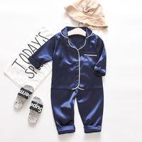 Kleinkind Baby Jungen Langarm Solid Tops + Hosen Pyjamas Sleepwear Outfits Set 2 Stück Kleidung Zweig Herbst Outfits 786 S2