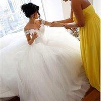 2015 Ball Gown Wedding Dress Off Shoulder Neckline Lace Appliques Tulle Floor-Length Bridal Dresses Dhyz 01