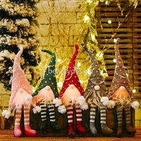 24 Hours Shipping!! ED Light Christmas Tree Wool Gnome Doll Pendants Ornaments Knitting Crafts Kids Gift Xmas Party Decorations DD