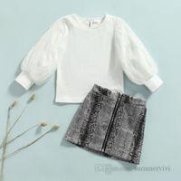 Fashion Girls clothing sets kids polka dots lace gauze puff sleeve T-shirt+snakeskin grain zipper A-line skirt 2pcs autumn children outfits Q1780