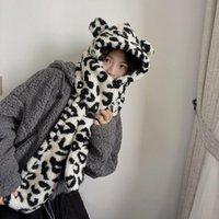 비니 / 두개골 모자 Y2K 미학 양동이 모자 흑백 Leopard e 소녀 겨울 따뜻한 동물 만화 스카프 액세서리 귀여운 모자 봉 제 모자