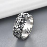 Hochwertiger Schmuck doppelt alter thailändischer Silber hergestellt alter Tiger-Kopf-Ring-Mode-Trend Valentinstag-Geschenk gerade