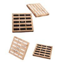 15 Rejillas de almacenamiento Bandeja de almacenamiento Bambú PU / Velvet Anillos de Joyería Organizador Rack Pantalla Estantería