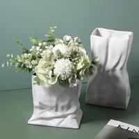 Керамическая ваза сгибает цветочные композиции современные украшения дома керамические ремесленные украшения цветка ваза свадьба декоративный