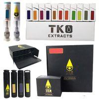 TKO Vape Pen Cartuchos 0.8ml 1 ml Atomizador de aceite grueso de cerámica 510 Hilo E Galletas de cigarrillos Carros de embalaje