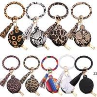 Auriculares de las mujeres llavero pulsera bolsa de pulsera cuero círculo llavero anillo brazalete auricular tassel mini monedero monedero con espejo maquillaje HWF7412