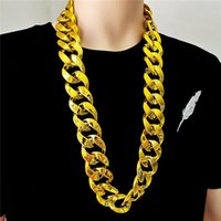Chains Men's Acrylic Thick Chain Necklace Large Fashion Creative Golden Hip Hop Punk Style Plastic Jewelry