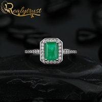 Reaytrust 1CT creato anello gemme smeraldo per le donne Genuine 925 sterling sterling gioielli di matrimonio anniversario anelli regalo 210310