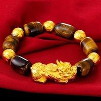 Link, Chain Hi Yellow Stone Beads Unisex Temperature Transform PI Xiu Bracelet 24k Gold Hand Party Friend Birthday Gift Fine Jewelry
