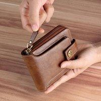 Wallets Men's Wallet Leather Luxury Designers Short Zipper Card Holder Chain Group