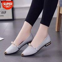 Metal Dize Boncuk Kadın Sandalet Toe Açık Ayakkabı kadın Sandles Inci Kare Topuk Kadın Ayakkabı Düz Sandalet Gladyatör Ayakkabı 569 # PU2H