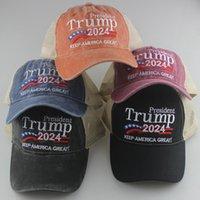 Donald Trump 2024 Beyzbol Kapaklar Patchwork Yıkanmış Açık Amerika Büyük Tekrar Yapmak Şapka Cumhuriyetçi Başkanı Mesh Spor Kap LJJA-2423