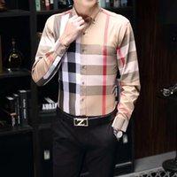 2021 роскошный дизайнер мода мужские рубашки с длинным рукавом бизнес повседневная марка весна стройная рубашка M-3XL # 018