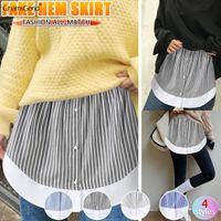 Skirts Women Decorative Skirt Stripe Print A-line Flare False Fake Hem Button Down Elastic Waist Layered Detachable Apron Clothes 2021