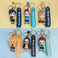 Anime Demon Slayer Key-trousseau Cartoon Kiu No Yaiba Figure Figure Chaîne clé Tanjirou Pendentif Pendentif Keyring KeyRing Toys cadeaux