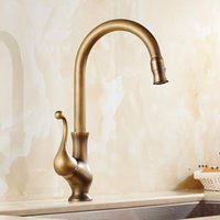 New Designed Deck Mounted Antique Brass Kitchen Faucet With Cold and Hot Water supply  Other Faucets Showers FWB10966