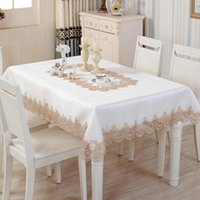 Table Cloth Table-Cloth Luxury Satin Jacquard Fabric Oilproof Lace Rectangle Round Runner For Wedding Party
