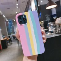 New Fashion Stripe Gradient Color Liquid Silicone Case For iPhone 12 11 Pro Max XR XS Max 8 7 Plus SE Soft Shockpoof Cover