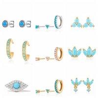 Hoop & Huggie CANNER Turquoise Earrings For Girls Mini Piercing Ear Stud Hoops 3 In 1 Luxury 925 Sterling Silver Charming Women's Pendientes