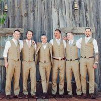 Men's Vests Simple Groom Khaki Groomsmen Man Vest Custom Made Wedding Prom Dinner Waistcoat