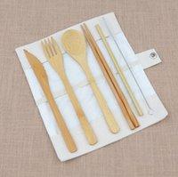 Couverts portables Ensemble de couverts de bambou à couverts de bambou de voyage en plein air Cheveux de coiffe de fourchette pour la cuillère pour étudiant Vaisselle GWB8497