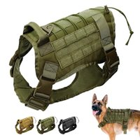 Dog Collars & Leashes Military Vest Harness Tactical K9 Molle Large For Training Hiking Hunting German Shepherd