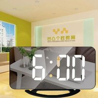Desk & Table Clocks Home Digital Display Mirror Clock Adjustable Brightness Alarm Electronic With Snooze Time