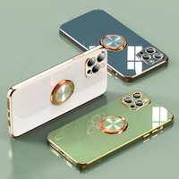 Luxury Plating Silicone Case For iPhone 12 11 Pro Max XR X XS MAX 7 8 Plus 12Pro Soft Cover With Ring Holder Stand