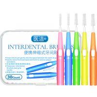 30 adet Push-Pull Cydental Fırçası 0.6 0.7 0.8 mm Diş Dişi Temizleyiciler Ortodontik Tel Kürdan Diş Fırçası Oral Bakım