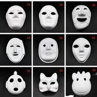 Halloween Full Face Masks DIY Pintados à Mão Pintados Papel Coberto de Papel Macho Máscara Em Branco Mascarada Branco Masks Máscara FWD8188