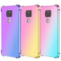 Gradiente colorido a prueba de golpes transparentes transparentes TPU Casos del teléfono para Motorola G10 G30 G9 G8 G Fast Stylus Play Play E7 E Plus One Fusion Shock-Absorbing Cubierta de teléfono celular