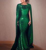 Esmeralda verde sereia vestidos de noite com Wrap Bateau varredura trem longo árabe vestidos formais vestes de soirée ocasião especial vestido