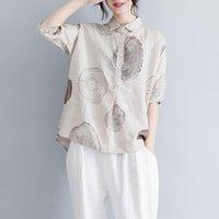 Kadın Bluz Gömlek FJE Yaz Kadın Bluz Artı Boyutu Paisley Baskı Pamuk Keten Vintage Gevşek Rahat Femme Büyük Giyim Tops A9304