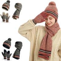 Hats, Scarves & Gloves Sets 3 PCS Winter Scarf Hat For Men Women Outdoor Warm Trendy Vintage Neck Simple Printed Unisex