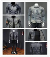Power Men Spring e Autumn Sottile camicia in denim da uomo a maniche lunghe Trend cuciture retrò sottile giacca casual