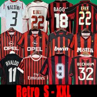 90 91 Retro Camisas Home 96 97 Gullit Soccer Jersey 02 03 04 Maldini Van Basten Football Kaka Inzaghi AC 06 07 Milão 09 10 Shevchenko