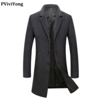 Men's Wool & Blends PViviYong 2021 Arrival High Quality Trench Coat Men,men's Turn-down Collar Jackets Men Fashion Thicked Parka M18001