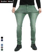 Brother Wang Brand Мужские упругие джинсы моды тонкий тощий джинсы повседневные брюки брюки джинс мужской зеленый черный синий 210622