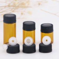 1ml 2ml 4ml Bernsteinglasflasche mit Spitze und schwarzen Kappe Ätherische Ölflaschen Leere Gläser Dropper