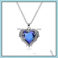 & Pendants Jewelryangel Wings Gemstone Necklaces For Women Crystal Love Heart Shape Pendant Sier Chains Necklace Fashion Female Jewelry Drop