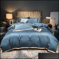 Bedding Supplies Textiles & Gardenbedding Sets Solid Color Duvet Er Set Silky Soft Egyptian Cotton Queen King Bed Sheet Quilt Pillowcases Ho