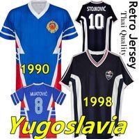 1990 yougoslavia rétro jerseys de football 1998 Jugoslavija Mijatovic Pancev Mihajlovic Stanvic Jugovic Stojkovic Savicevic Classic Shirt de football Vintage Vintage