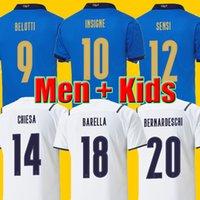 أعلى تايلاند 2021 Sensi Barella إيطاليا Soccer Jersey Insigne Bernardeschi Football Shirt Chiellini Bonucci Belotti Jorginho Men و Kids Kits