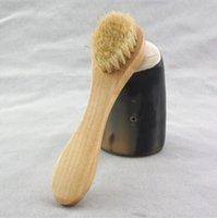 فرشاة تنظيف الوجه لتقشيم الوجه شعيرات طبيعية تنظيف فرش الوجه للتنظيف بالفرشاة الجافة مع مقبض خشبي