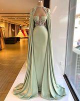 Aso Ebi 2021 아랍어 고급스러운 파란색 크리스탈 이브닝 드레스 섹시한 슈즈 댄스 파티 드레스 새틴 공식 파티 두 번째 리셉션 가운 ZJ966