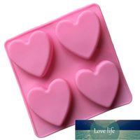 Molde de jabón hecho a mano DIY 4 celosías Amor de corazón Forma de corazón Molde de pastel de silicona Moldes de chocolate Moldes de chocolate Postre herramientas