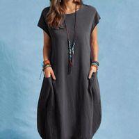 Women's Blouses & Shirts Women Casual Dress O-neckline Solid Short Sleeve Loose Pocket Dresses For 2021 Fashion Sundress Robe Femme